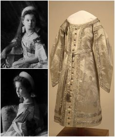 Child's ceremonial dress, belonging to one of the daughters of Tsar Nicholas II, Russia, beginning of the 20th century. Satin, taffeta, tulle, gaze de soie, silver, metallic thread. State Hermitage Museum (link: http://www.hermitagemuseum.org/wps/portal/hermitage/digital-collection/08.+Applied+Arts/1263434/?lng=ru). Portraits of Grand Duchesses Olga Nikolaevna and Tatiana Nikolaevna in court dresses with a similar braided trim, 1904 (link: https://vk.com/wall-28405715?own=1&offset=60).
