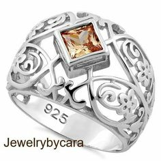 NEW Sterling Silver Champagne CZ Princess Cut Ring $40 DL-SRZ5930 *available in whole sizes 6-12 *5.5mm CZ *8mm width band www.facebook.com/groups/jewelrybycara