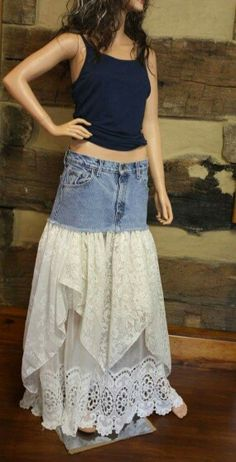 Upcycled Denim Skirt Lace Maxi Shop Shabby Shack Vintage Denim in Courtyard Antiques (formerly known as Front Porch Antiques Mall) in the Mason Antiques District. Open 7 Days, 10 A. Vintage Denim for Women & Children. Recycled Fashion, Recycled Denim, Denim Ideas, Denim Crafts, Altered Couture, Jeans Rock, Denim And Lace, Altering Clothes, Lace Maxi