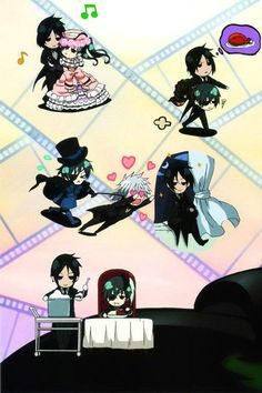 Daily chores Black Butler! I love the one in the top right corner. It's like: I come save you while thinking about getting dinner ready.