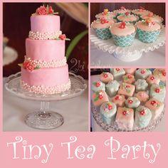 2bi Cakes ~ Tea Party Cakes mini cake, petite fours, cupcakes, gumdrop flowers