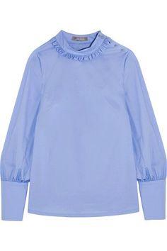 Lela Rose | Ruffled cotton-poplin top | NET-A-PORTER.COM