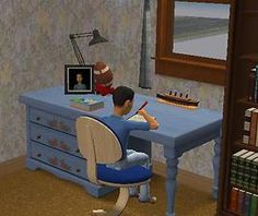 """Mod The Sims - """"Put your homework away properly!"""" Sims 2 Mod that allows your Sims to claim a desk where they will always put their homework away. My Sims, Sims Cc, Sims 2 Hair, Sims Four, Best Mods, Best Desk, Do Homework, A Shelf, Table Desk"""