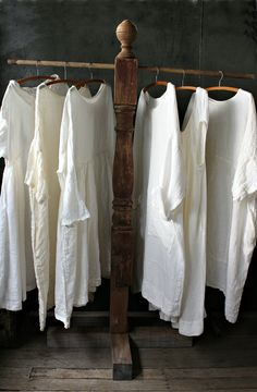 Linen Dresses MegbyDesign  Repurposed old banister post (for daily outfits)