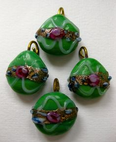 Rare Antique Venetian Hand Made Green Wedding Cake Pink Rose Blue Buds White Trailing Aventurine  Pendants Drops Beads  1950' 2Pcs by MillineryJewellery on Etsy