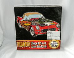 """Antique Corvette Shaped 1000 Piece Jigsaw Puzzle Challenging """"Street Muscle"""" Car"""