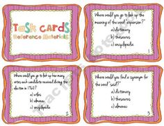 Reference Materials Task Cards