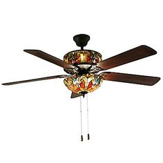 """Tiffany-Style 52"""" Halston Double Lit Stained Glass Ceiling Fan"""