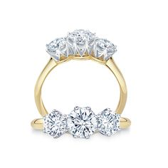 #PaulBram Trilogy Ring | Finely detailed three stone ring featuring three brilliant cut #diamonds in elegant crown settings | #engagement