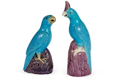Pair of antique Chinese turquoise and aubergine parrots $450