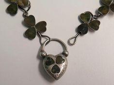 Victorian Irish Connemara Marble in Sterling Shamrock Bracelet & Heart Padlock  | eBay
