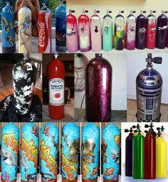 """""""Superbes idées décoration pour nos bouteilles de Plongee - je ne sais pas si la mienne je ne vais pas ma faire en militaire #Plongee #plongeesousmarine…"""""""