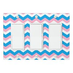 Pink and Blue Chevron Light Switch Cover
