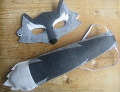 Felt Wolf mask and tail set by littlebitdesignshop on Etsy, $30.00