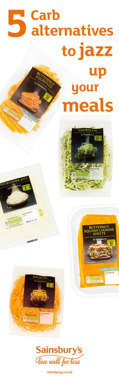 Pack more veg into your favourite dishes with our easy carb-alternatives range. There's courgetti, butternut squash lasagne sheets, butternut squash noodles, sweet potatoe fries, cauliflower rice, broccoli rice and butternut squash waffles. If you like noodles you'll love the boodles. Healthier can be easy peasy. All available at Sainsbury's.