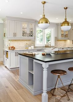 Shades of Gray Kitchen. Kitchen features pale gray perimeter cabinets and blue gray kitchen island. #kitchen #greykitchen #kitchen