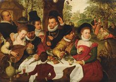 Gesellschaft im Freien  Attributed to Frans Pourbus the Elder (Flemish, 1545 - 1581)    Sleeves, hats, color!
