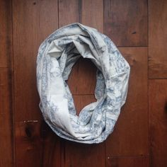 This pretty little scarf is crafted from vintage fabric found in Tennessee and features blue and white toile pattern throughout-- perfect for pairing with an airy spring dress.  Limited run of 3  Handmade in Nashville, TN from a light/med. vintage cotton. Nytonashville.com
