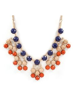 Kira Necklace in Navy on Persimmon on Emma Stine Limited