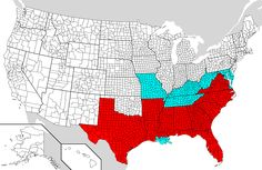 This map shows the Emancipation Proclamation's reach. Slaves in areas colored red were declared free. Slavery existed in the light blue areas, but these regions were exempt from the proclamation.