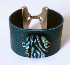 Leather and Dichroic Glass Cuff  Leather and by 3DGlassDesigns