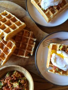 Lately I have been seeing or maybe noticing more waffles on restaurant menus. Could it be a craving for comfort that I am noticing them or . Emily Richards, Menu Restaurant, Cravings, Waffles, Cooking, Breakfast, Pretty, Kitchen, Food