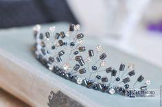 Купить Диадема тиара из черного гематита / свадебное украшение для волос - черный, украшение для невесты