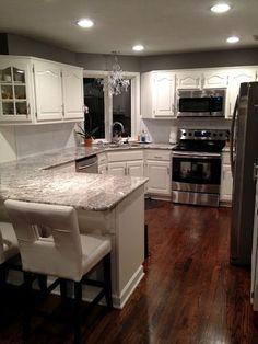 Kitchen remodel- cold springs granite, willow creek paint, white dove wood  #grayandwhitekitchen DELIGHTFUL MOM STUFF: House Stuff: Kitchen!