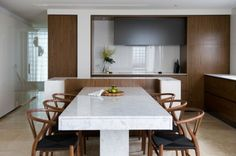 Marble Dining Table Design Ideas, Pictures, Remodel and Decor Kitchen Island With Table Attached, Kitchen Island And Table Combo, Marble Top Dining Table, Dining Room Table, Dining Rooms, Dining Sets, Dining Area, Dining Chairs, Hidden Kitchen