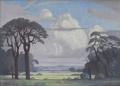 Exhibition Work / Art that inspires - Our Anniversary: Gallery I / JH Pierneef: Bosveld, Noord-Transvaal - SOLD Art Pictures, Art Images, Saint Matthew, South African Artists, Landscape Paintings, Landscapes, Photo Tree, Stone Mosaic, Art Projects