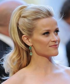 reece witherspoon half up half down hair styles   Reese Witherspoon Long Hairstyle: Half Up Half Down without Bangs