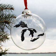 Great Lakes Glass Ornament by citybird on Etsy, $10.00. Great Christmas present idea!!!
