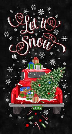 Let it Snow Panel, Red Truck Fabric, 24 , Christmas Tree Truck, TheFabricEdge Christmas Truck, Black Christmas, Christmas Fabric, Merry Christmas, Christmas Time, Christmas Wreaths, Christmas Crafts, Christmas Decorations, Christmas Ornaments