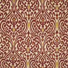 Harvest Red Medallion Made in USA Upholstery Fabric