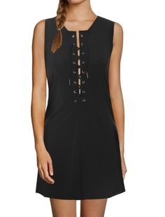 Allegra K Women Lace Up Front Sleeveless Round Neck Tunic Dress