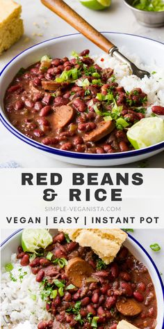Vegan Red Beans and Rice recipe made easy in your Instant Pot, NO SOAKing or draining the beans required, this vegan recipe is gluten free, oil free and low fat! pot recipes lasagna Instant Pot Red Beans and Rice (Vegan) - The Simple Veganista Rice Recipes, Whole Food Recipes, Vegetarian Recipes, Dinner Recipes, Healthy Recipes, Vegan Bean Recipes, Instant Pot, Red Beans N Rice Recipe, Easy Red Beans And Rice Recipe Vegetarian