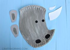 "Paper Plate Rhino Craft for Kids - Crafty Morning Michelle says, ""Yesterday I came across a brilliant craft idea made with a paper plate – a RHINO! Thanks to LoveandLollipops for letting me share with you guys! This would be fun if you are learning about animals in the zoo or Africa!"""