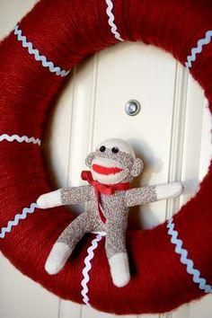 Sock Monkey 1st Birthday Party #SockMonkey #Wreath