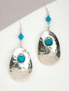 Turquoise Earrings Sterling Silver Earrings by LLDArtisticJewelry, $50.00