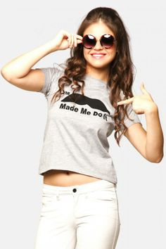 Miss Chase - The Moustache Made Me Do It Printed Tee