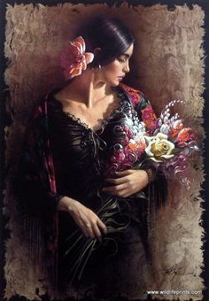 """A Hispanic woman calmly looks down at her bouquet of flowers in Lee Bogle's Las Flores. This print is signed and numbered and is available unframed in size of 16.5""""x24"""""""