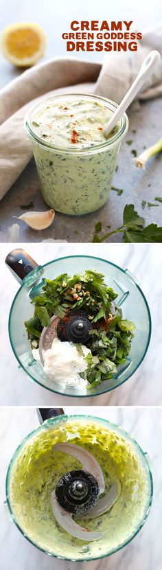 Looking for the most perfect all-purpose HEALTHY dressing recipe that doubles as a dip? You need to make this Creamy Green Goddess Dressing recipe made with a Greek yogurt base, tons of fresh herbs, anti-inflammatory spices, and a squeeze of lemon Goddess Dressing Recipe, Green Goddess Dressing, Whole Food Recipes, Vegan Recipes, Dinner Recipes, Slow Cooking, Cooking Recipes, Healthy Snacks, Healthy Eating