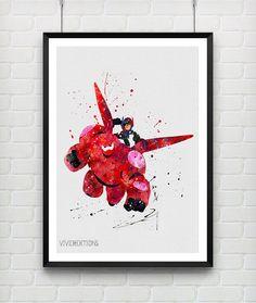 Baymax and Hiro Hamada Poster, Big Hero 6 Watercolor Print, Superhero Poster, Home Decor, Boy's Gift, Not Framed, Buy 2 Get 1 Free! [No 191]
