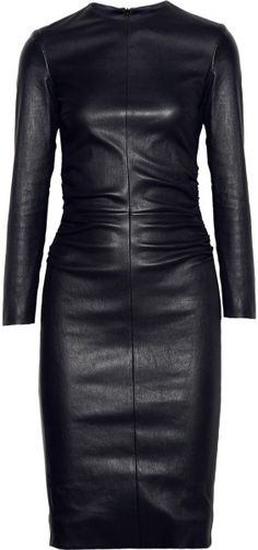 The Row Risting Ruched Leather Dress in Black (midnight) - Lyst