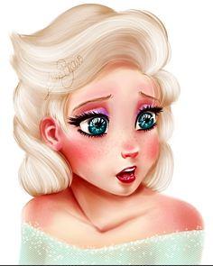 hellyeahdisneyfanart:   My own version of Elsa the Snow Queen...