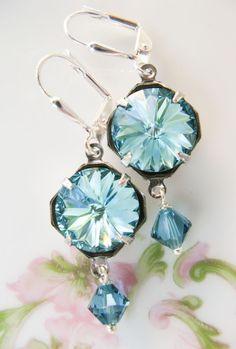 New w/Swarovski Light Turquoise Rivoli/Indicolite Bicone Bead Crystal Earrings Selling Jewelry, Jewelry Stores, Jewelry Box, Jewelry Making, Jewelry Ideas, Crystal Earrings, Crystal Beads, Drop Earrings, Vintage Fans