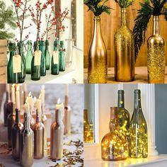 Garrafas decorativas - Ideias decoração moderna Natal