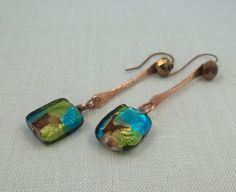 Hammered copper and turquoise foil earrings.  Lime by KABADESIGNS