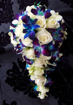 Blue Orchid Teardrop Bouquet White rose and <b>blue orchid bouquet</b>  www.fbdesign.com.au t54 ...