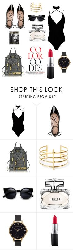 """Untitled #14"" by enakalesiic ❤ liked on Polyvore featuring Boohoo, Kate Spade, Moschino, BauXo, Gucci, Olivia Burton and MAC Cosmetics"